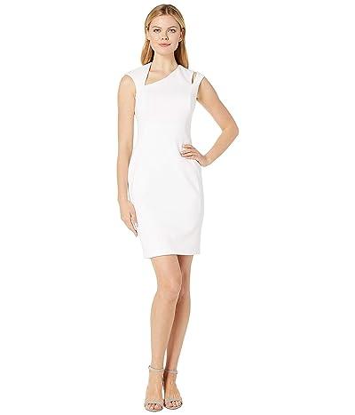 Calvin Klein Asymmetric Neck Sheath Dress w/ Shoulder Cut Out (White) Women