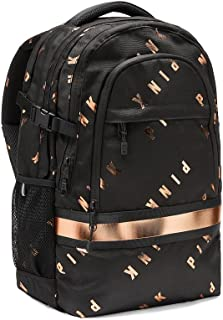 Victoria's Secret Pink Collegiate Backpack School Bag Black Copper Foil