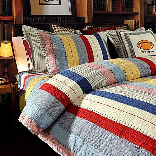 Colcha acolchada 3 piezas 100% algodón rayas reversible colcha de retazos edredón acolchado de retazos funda de cama de microfibra decorativa 2 personas funda de almohada,230*250cm,2*50*70cm