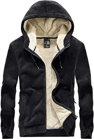 FAXIKIO Men's Hooded Full Zip Jacket Winter Thick Warm Fleece Outwear Coats Casual Plus Size Hoodie Sweatshirt Pullover