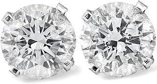 P3 POMPEII3 1 Ct TDW Round Cut 14K White Gold Diamond Studs Earrings IGI Certified