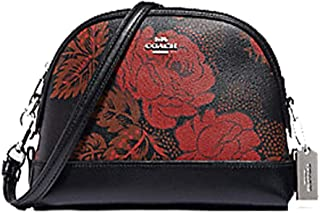 Coach Dome Crossbody With Thorn Roses Print Black Red Multi