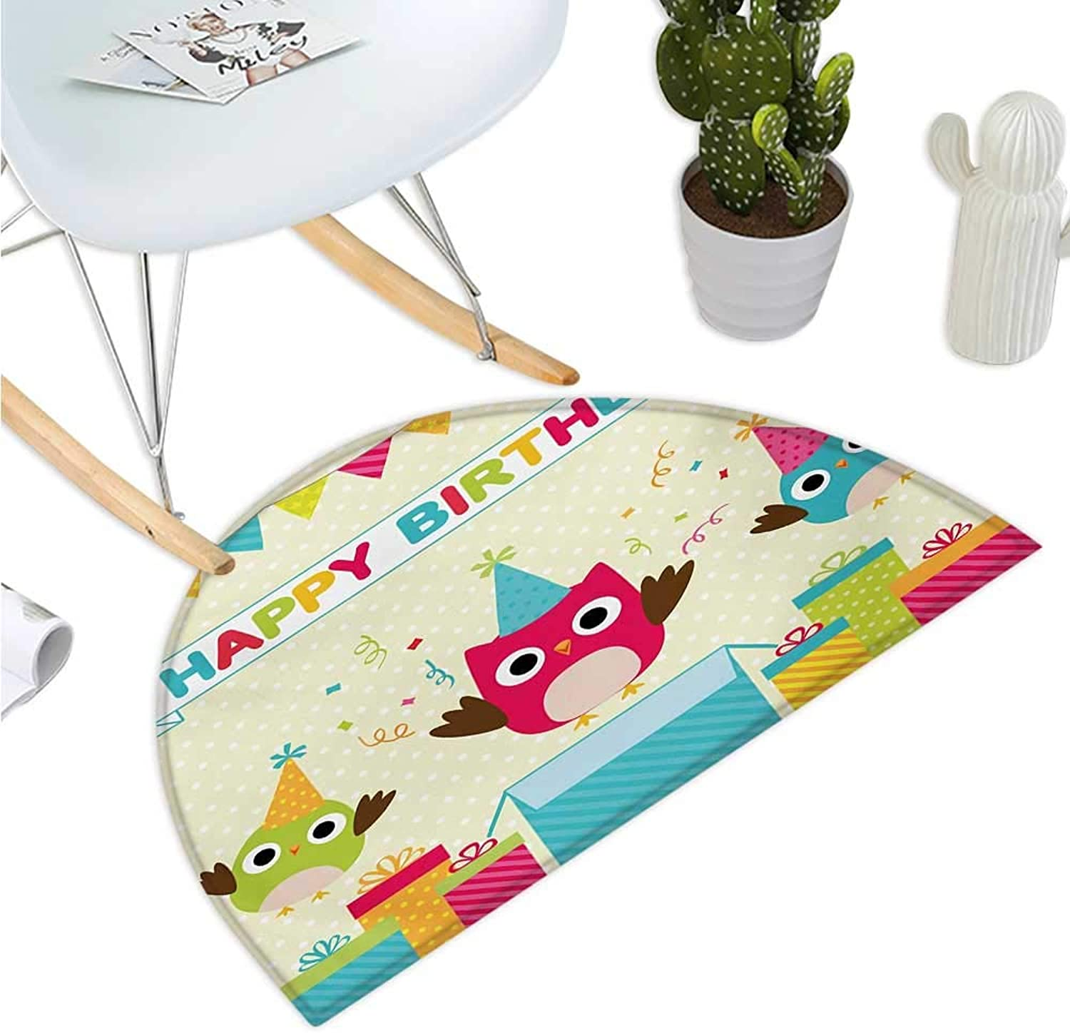 Kids Birthday Half Round Door mats Happy Chubby Baby Owls Flags Box on Polka Dots Backdrop Celebration Print Entry Door Mat H 35.4  xD 53.1  Multicolor
