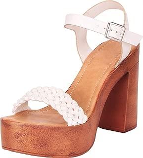 Women's Retro 70s Woven Chunky Platform Block Heel Sandal