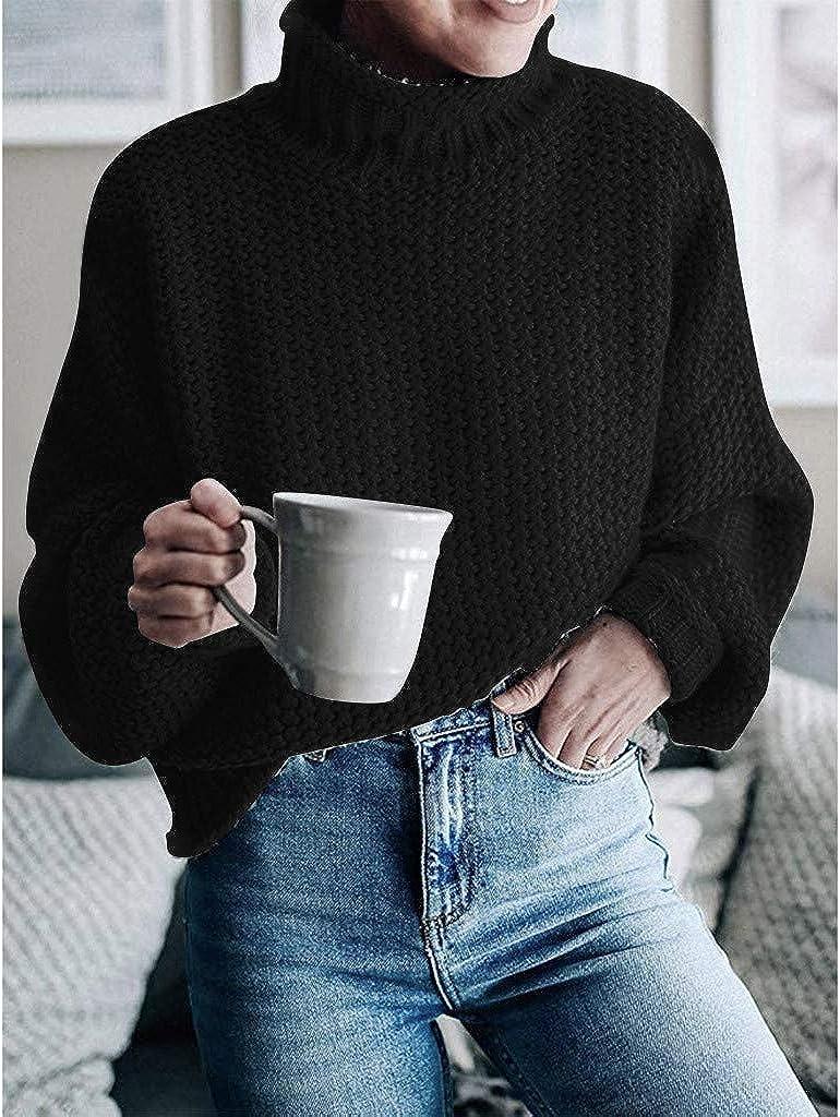 BOLANQ Damen Herbst Winter Übergangs Warm Bequem Slim Lässig Stilvoll Frauen Langarm Solid Sweatshirt Pullover Tops Bluse Shirt Schwarz