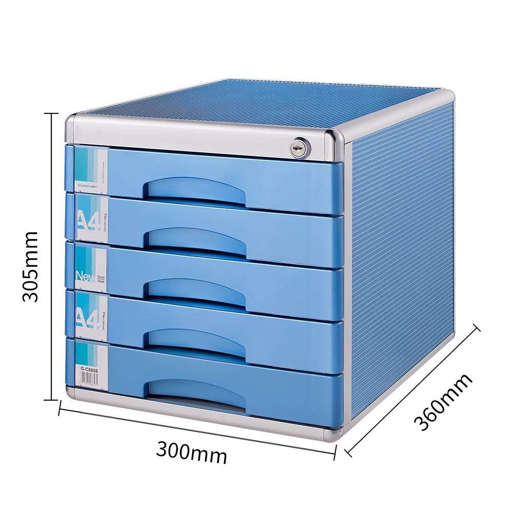 Archivador Archivadores 5 niveles con cajón de la cerradura Tipo Capa de escritorio de oficina Caja de almacenamiento simple de archivos de almacenamiento (Color : Azul , tamaño : 30x36x30.5cm) : Amazon.es: Hogar