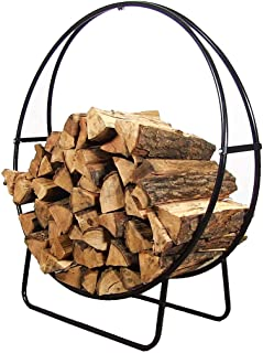 Sunnydaze 48 Inch Firewood Log Hoop Rack, Round Tubular Steel Outdoor Wood Storage Holder, Black