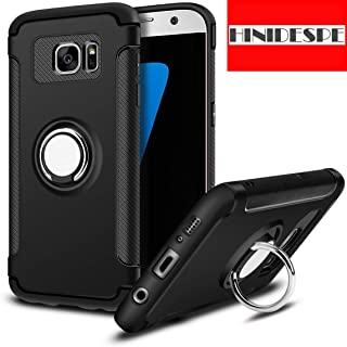 HINIDESPE Phone case for Samsung Galaxy S7 , Protection upgrade, Full Body Heavy Duty Protection with 360°+120° Ring Holder, Slim Shockproof cover for Magnetic Car Mount Black