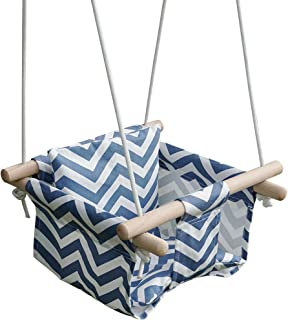 KINSPORY Toddler Baby Hanging Swing Seat Secure Canvas Hammock Chair with Soft Backrest Cushion - Installation Accessories Included
