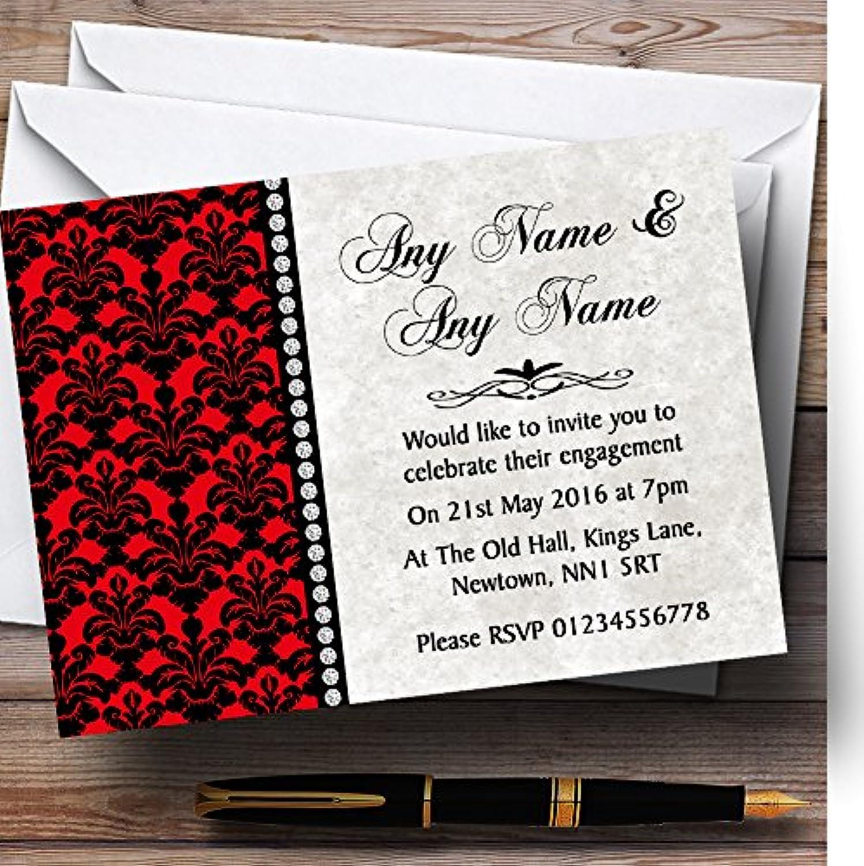 Deep Red Black Damask & Diamond Personalised Engagement Party Invitations   Invites & Envelopes