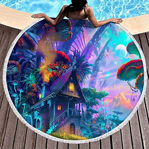 Psychedelic Mushroom Tree House Fantasy Print Water Absorbent Round Beach Towel with Tassels Gypsy Beach Blanket White 59 inch