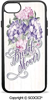 SCOCICI Non-Slip Drop Protection Smart Cell Phone Case Shabby Chic Hydrangeas Romantic Bride Flowers Image Compatible with iPhone 7