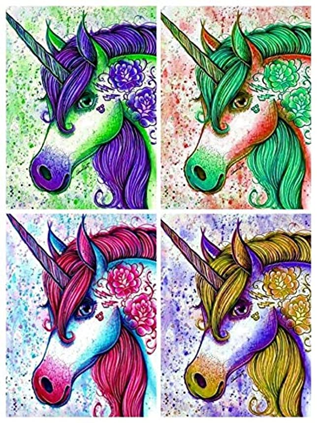 Menggo 4 Pack 5d Diamond Painting Kits for Adults Kids Set Unicorn Full Drill Diamond dotz for Home Wall Decor