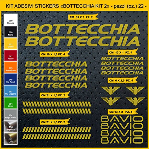 Adesivi Bici BOTTECCHIA_Kit 2_ Kit Adesivi Stickers 22 Pezzi -Scegli SUBITO Colore- Bike Cycle pegatina cod.0847 (091 Oro)