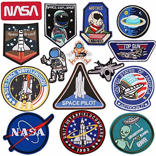 15 parches de astronauta de planetas espaciales para ropa, parches bordados para planchar o coser.
