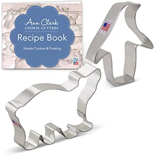 Ann Clark Cookie Cutters 2-Piece Winter and Christmas Cookie Cutter Set with Recipe Booklet, Polar Bear and Penguin