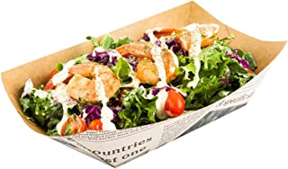 Bio Tek 5.4 Inch Food Boats, 200 Disposable Paper Food Trays - Heavy-Duty, Grease-Resistant, Newsprint Paper Nacho Boats, ...