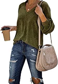 Womens Corduroy Shirts Casual Loose Fit Pullover Long Sleeve Sexy V Neck Blouse Warm Velvet Tunic Tops Army Green XL