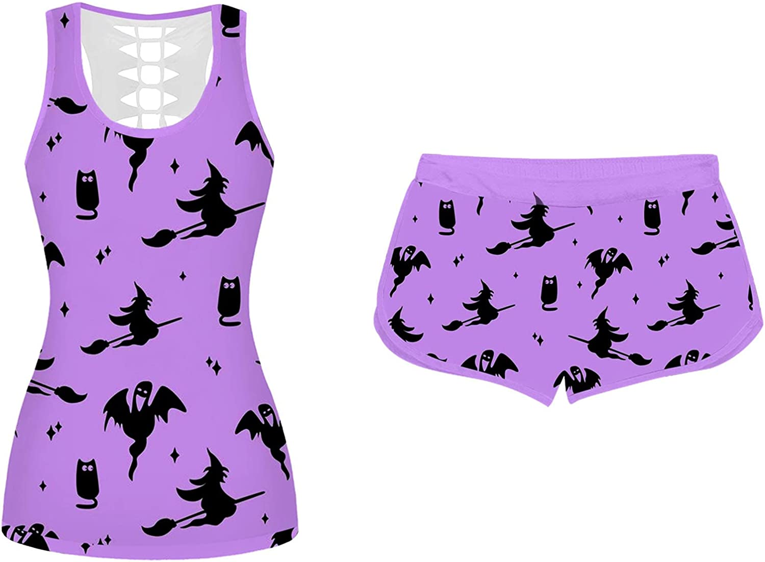 Jeepuch Halloween Pajama Set for Women Bat Print Sleeveless Tank Tops and Sport Shorts Halloween Outfit Sleepwear Suits