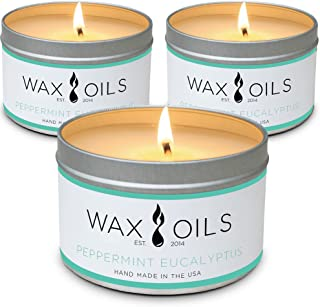 Wax and Oils Soy Wax Aromatherapy Scented Candles, Peppermint Eucalyptus, 8 oz (Pack of 3)
