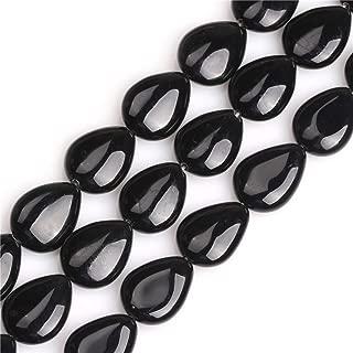 JOE FOREMAN 15X20mm Black Agate Semi Precious Gemstone Drip Loose Beads for Jewelry Making DIY Handmade Craft Supplies 15
