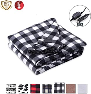 SeaHome Electric Car Blanket, 12V Heated Fleece Travel Throw Heating Blanket with AC Adapter for Car Auto Supplies RV - Great Cold Weather Supplies