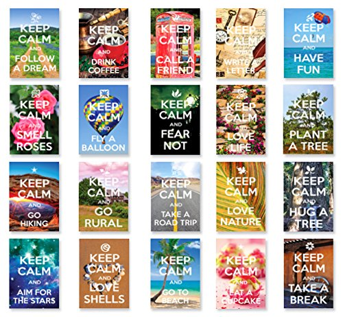 KEEP CALM postcard set of 20. Post card variety pack with Keep Calm theme postcards. Made in USA.