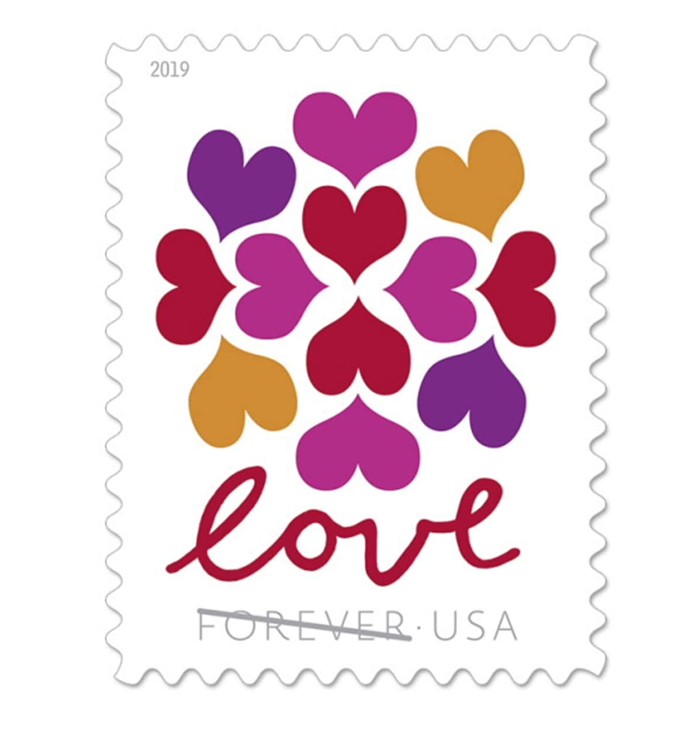 USPS Hearts Blossom Love Forever Stamps 2019 (2 Sheets, 40 Stamps)