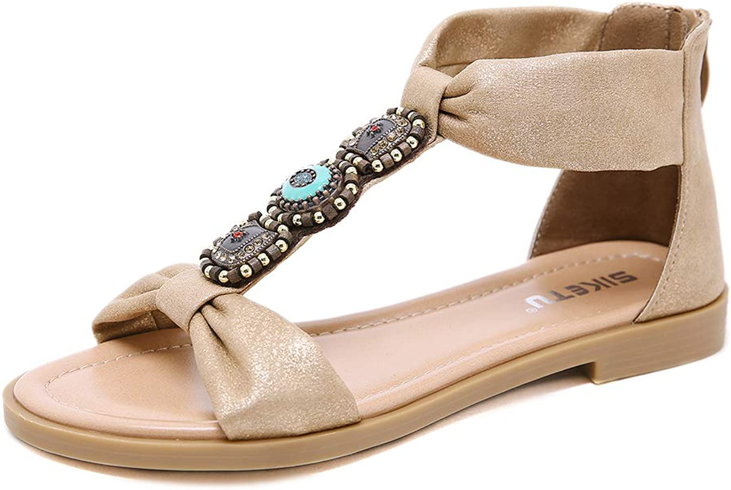 AGOWOO Womens Vintage Jeweled Sandals, Strap Flat Zipper, Sandles