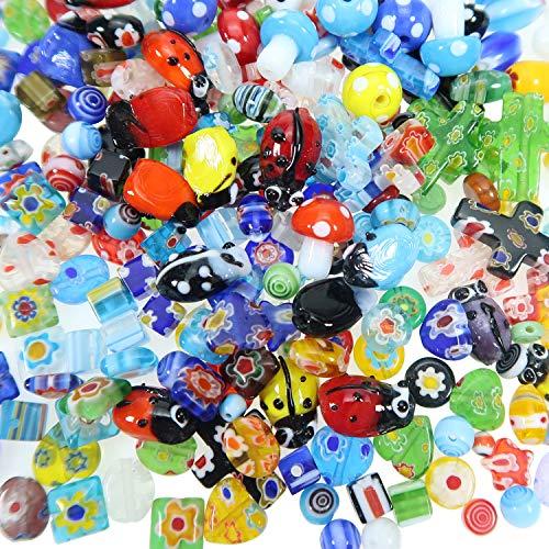 TOAOB 140 Piezas Multicolor Tamaño de Estilo Mixto Cuentas de Vidrio Patrón para Accesorios Manualidades y Fabricación de Joyas