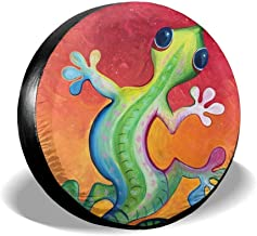 Fjb11 Spare Tire Cover Dust-Proof - Universal Tire Covers Fit Jeep, Trailer, RV, SUV, Truck Ect, Green Gecko Animation Printed Wheel Accessories Protector(14,15,16,17 Inch)