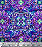 Soimoi Blau Kunstseide Stoff Paisley & Mandala dekorativ