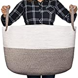 Luxury Little Nursery Storage Basket, Size XXXL :: 100% Cotton Rope Hamper with Handles :: Sturdy Baby Bin Organizer for Laundry, Toys, Blankets, Pillows & More, 22