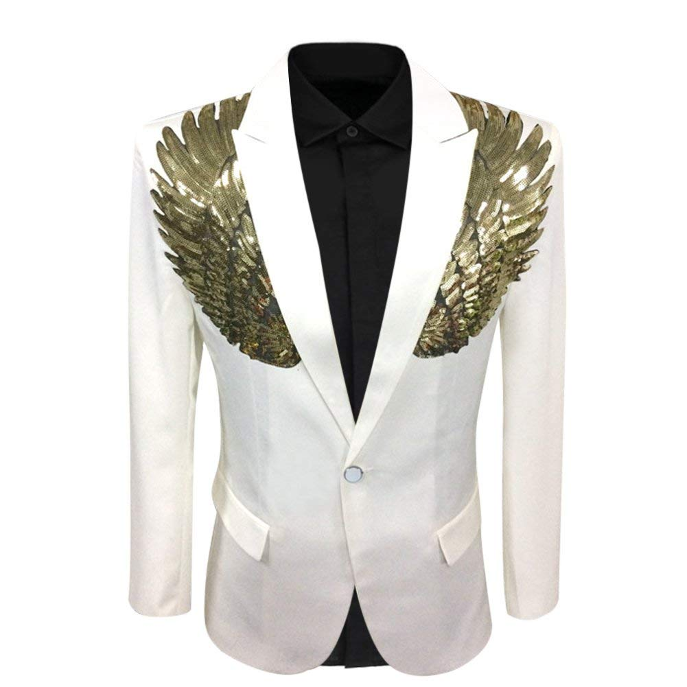 Mens Wedding Sequin Wing Stage Clothes Premium Suit Jacket Blazer Coat