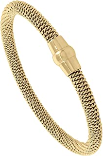 Sabrina Silver Stainless Steel Rope Wrapped Bracelet Gold Color Magnetic Clasp, 3/16 inch Wide