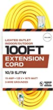 100 Foot Lighted Outdoor Extension Cord - 10/3 SJTW Yellow 10 Gauge Extension Cable with 3 Prong Grounded Plug for Safety - Great for Garden and Major Appliances