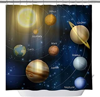 GOODCARE Cosmic Galactic Space Planet Shower Curtain for Bathroom Polyester Fabric Shower Curtains,Shower Curtain Set Hooks Included, 71x71inch
