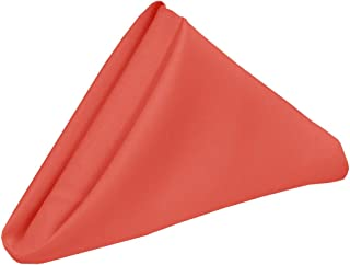 YCC Linen - 20 Inch Square Premium Polyester Cloth Napkins 10 Pack - Coral, Oversized, Double Folded and Hemmed Table Napkins for Restaurant, Bistro, Wedding, Thanksgiving and Christmas