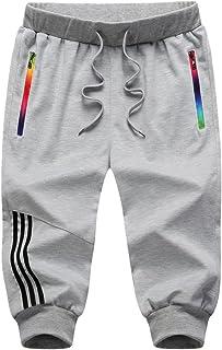 Yying 3/4 Moda Raya Pantalones Cortos Deportivos para Hombre Fitness Jogging Running Pantalón con Bolsillos Elástica Casua...