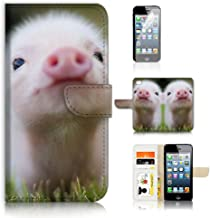 ( For iPhone 8 Plus / iPhone 7 Plus ) Flip Wallet Case Cover & Screen Protector Bundle - A21276 Cute Baby Pig
