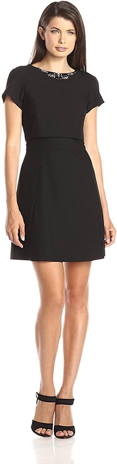 Vince Camuto Women's Embellished-Neck Pop-Over Fit-and-Flare Dress
