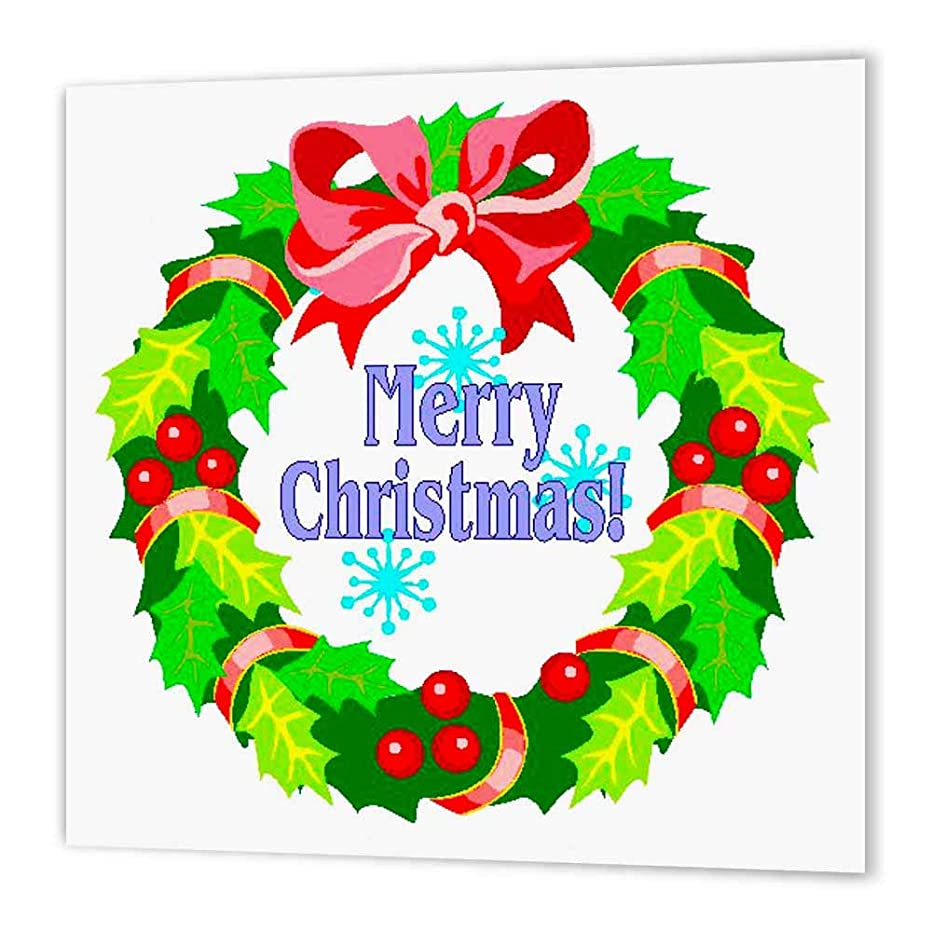 3dRose ht_60086_2 Christmas Wreath-Iron on Heat Transfer Paper for White Material, 6 by 6-Inch