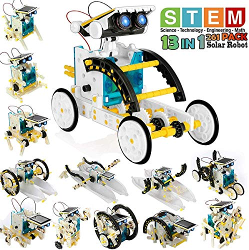 POKONBOY 13-in-1 Robot Kit Solar Robot Creation Toy,Educational Science Experiment Kit DIY Robotics Kit Solar Powered STEM Robotics Building Kits for Teens Kids to Build