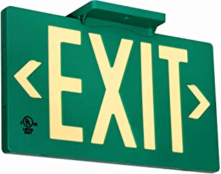 UL Listed 100 Foot Jessup Glo Brite 7040-100-B PF100 Molded Plastic Exit Sign, Single-Sided, 8.75