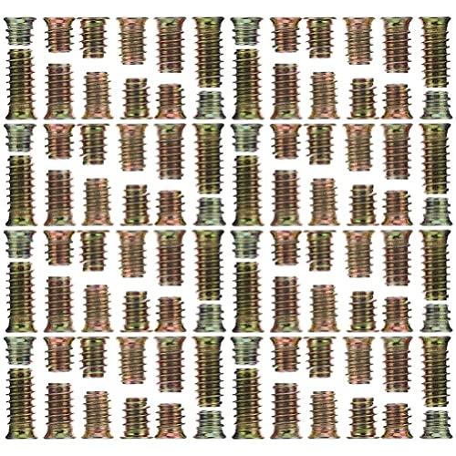 Scicalife 105 Piezas Tuercas de Inserción Roscadas M5 M7 M8 Tuerca de Acero Al Carbono para Muebles Insertos de Tornillo Hexagonal para Muebles de Madera Conector de Fijación de Pernos de
