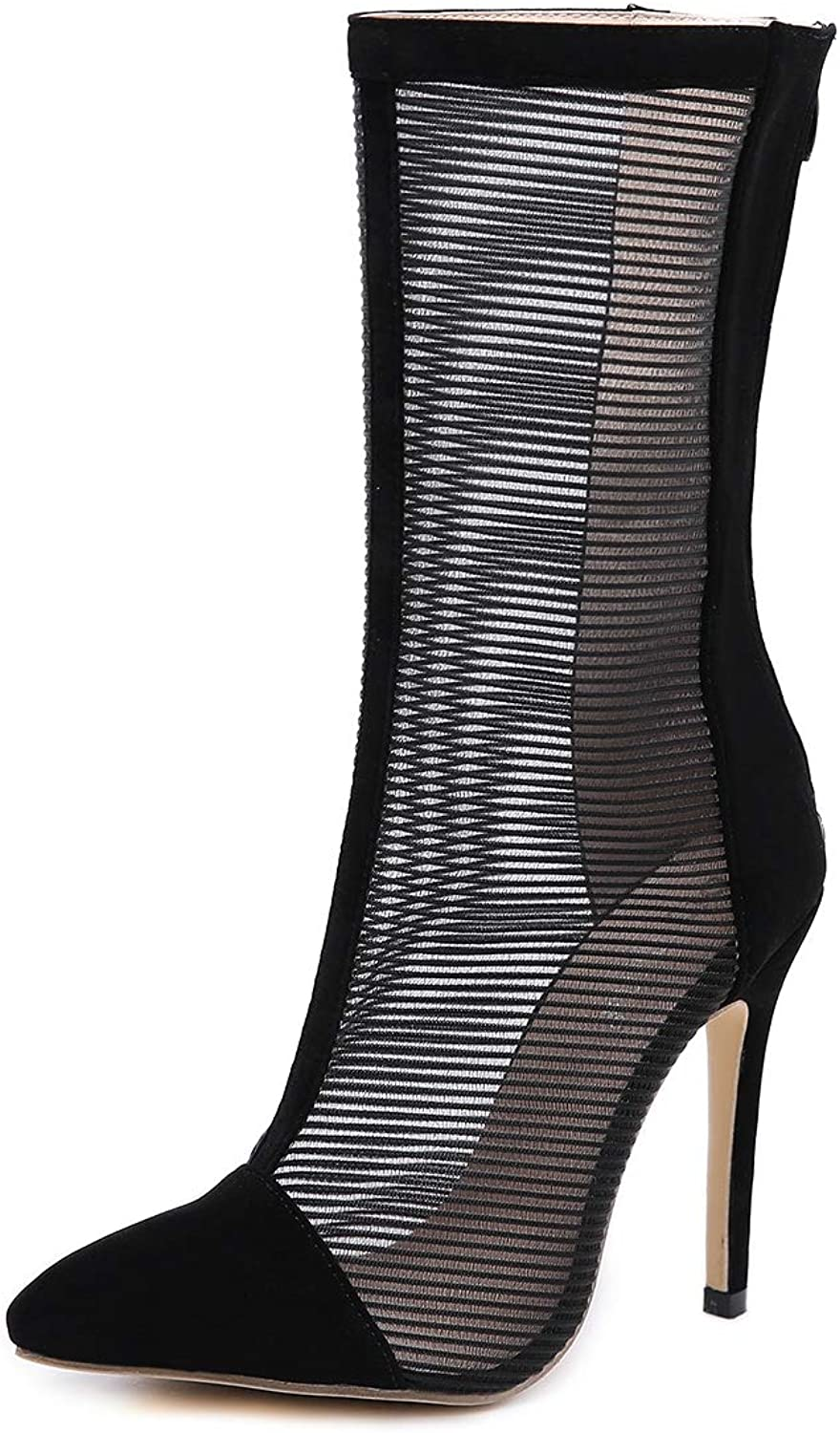 Women's Sandals - Fashion Pointed Mid-Sleeve Boots Stiletto High-Heeled Sandals