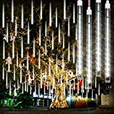 Meteorlichter Éclairage de douche Étanche avec 192 LED 8 tubes, Guirlande Lumineuse Extérieure pour extérieur de Noël, Guirlande Guinguette Exterieure de pluie pour Fête, Mariage, sapin de Noël, Blanc