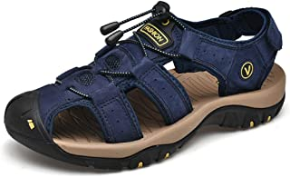 KPILP Men Shoes Leather Sandals Flats Beach Walking Hiking Athletic and Outdoor Non Slip Soft Bottom Casual Shoes Summer E...