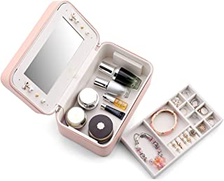 Vlando Multifunctional Jewelry Box, Cosmetics Box, Makeup Brush Organizer for Women Ladies, Pink