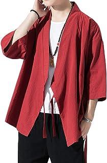 Men's Summer Casual Open Front Kimono Cardigan Coat Japanese Style Haori Jackets